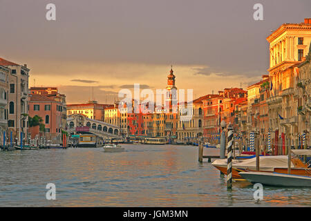 Europe, Italy, Venice, Canale grandee, boat, boats, Rialto, bridge, bridge, gondola, gondolas, town, lane, lanes, - Stock Photo