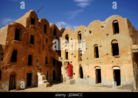 Ksar Ouled Soltane, an ancient fortified granary, or ksar, located in the Tataouine district in southern Tunisia - Stock Photo