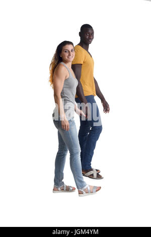 couple walking on white background, - Stock Photo