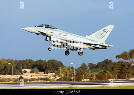 Luqa, Malta November 25, 2010: Saudi Arabian Air Force Eurofighter EF-2000 Typhoon F2 on delivery flight to Saudi - Stock Photo