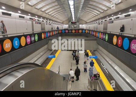 New 72nd Street subway station along 2nd Avenue on the Upper East Side of Manhattan. - Stock Photo