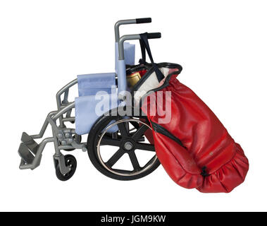 Wheelchair used for assistance in personal transportation with Boxing Gloves - Path Included - Stock Photo