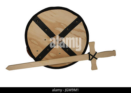 Wooden Shield and Sword - path included - Stock Photo