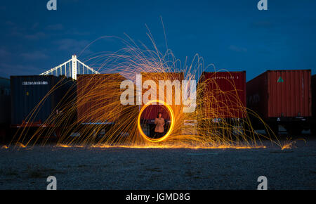 Long exposure photo taken in Treasure Island - Stock Photo