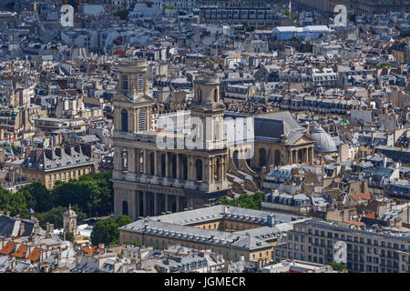 aerial view on Church of Saint-Sulpice in Paris - Stock Photo