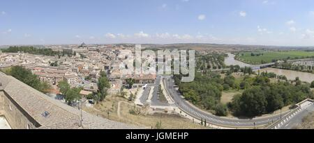 Panoramic view of Toledo, including Tajo River at the right side. Image taken in Toledo, July 2017 - Stock Photo