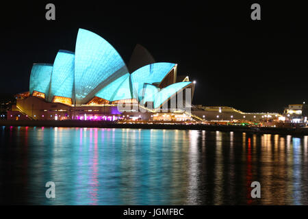 Sydney Opera House, NSW, Australia at night - Stock Photo