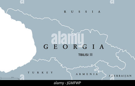 Georgia political map with capital Tbilisi and international borders. Republic and country in the Caucasus region - Stock Photo
