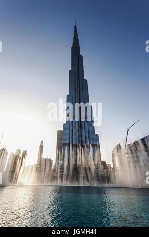 Burj Khalifa Lake, fountain show, Burj Khalifa  skyscraper, Downtown, Dubai, United Arab Emirates - Stock Photo