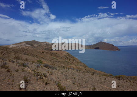 Breath taking view of Lake Titicaca as seen from the Isla del Sol - Stock Photo