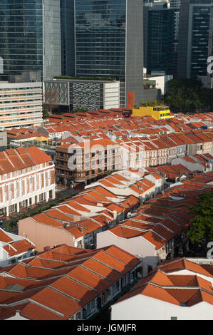 07.07.2017, Singapore, Republic of Singapore, Asia - A view of traditional shop houses in Singapore's Chinatown - Stock Photo