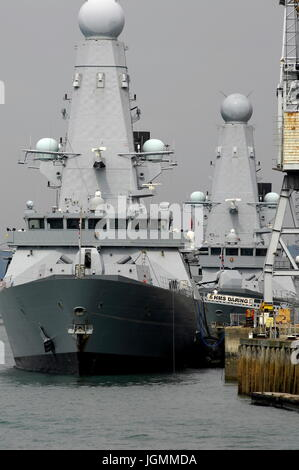 AJAXNETPHOTO. 25TH AUGUST, 2016. PORTSMOUTH,ENGLAND. - TYPE 45 IN DOCK - HMS DARING, FIRST OF THE ROYAL NAVY'S  - Stock Photo