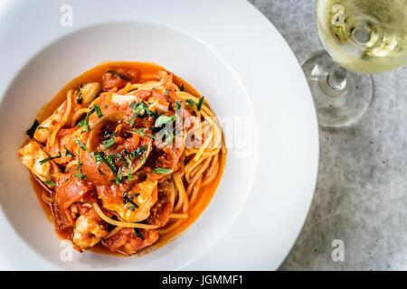Seafood spaghetti marinara italian - Stock Photo