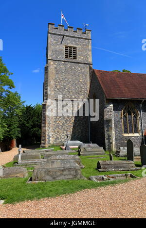 The magnificent church of Saint Andrews in the rural village of Sonning on Thames with it bell tower standing tall - Stock Photo
