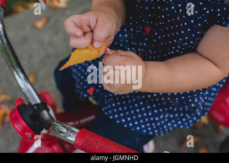 A young child hold a yellow leaf in autumn. - Stock Photo