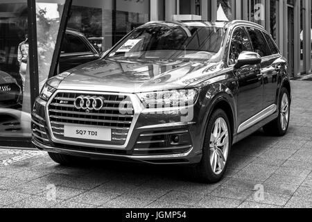 BERLIN - JUNE 17, 2017: Full-size luxury crossover SUV Audi SQ7 TDI, produced since 2016. Black and white. Classic - Stock Photo