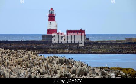 Longstone Lighthouse (made famous by Grace Darling), Farne Islands, Northumbria, England, UK. - Stock Photo