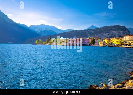 Lago di Garba town of Torbole view, Trentino Alto Adige region of Italy - Stock Photo