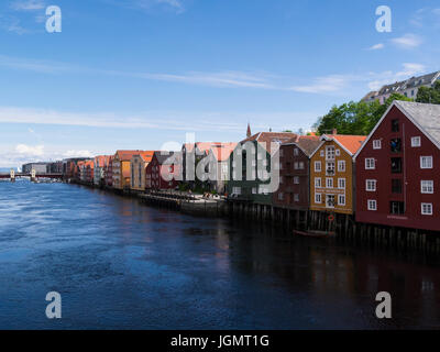 View along River Nidelva flanked by well maintained colourful buildings Trondheim city and municipality in Sør-Trøndelag - Stock Photo