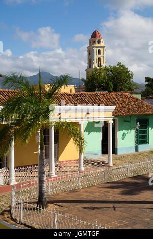 Plaza Mayor, Iglesia y Convento de San Francisco (background), Trinidad, UNESCO World Heritage Site, Sancti Spiritus, - Stock Photo