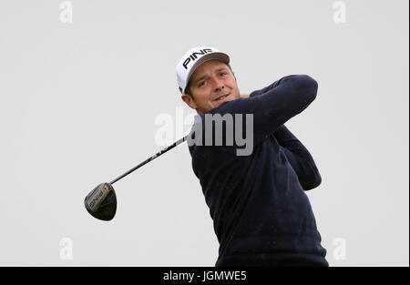 France's Julien Quesne tees off on the eighth during day four of the Dubai Duty Free Irish Open at Portstewart Golf - Stock Photo