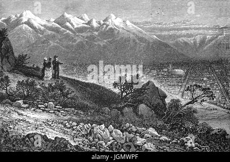 1879: A view of Salt Lake City from the Wahsatch range of mountains, Utah, United States of America - Stock Photo