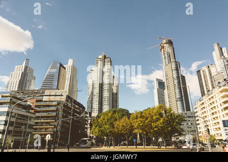 BUENOS AIRES, ARGENTINA - MAYO 09, 2017: Skyscrapers, modern high rise apartments and office buildings, Azucena - Stock Photo