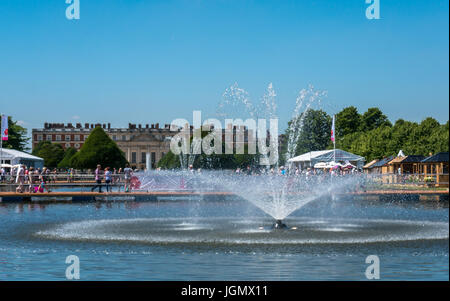 Water fountain in front of Hampton Court Palace at RHS Hampton Court Flower Show,  July 2017, London, England, UK - Stock Photo