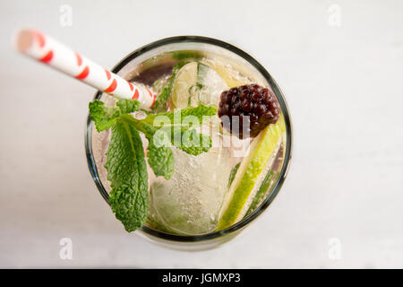 Gin tonic cocktail with lime, red fruit ice and mint, white background. Close up detail - Stock Photo