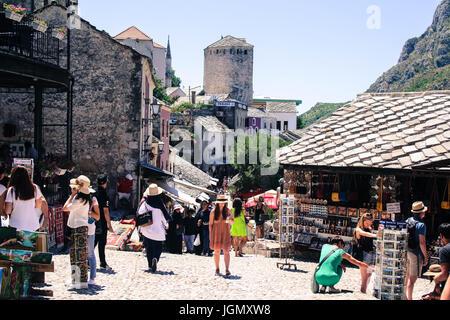 Beautiful old town of Mostar, Bosnia shopping tourism - Stock Photo