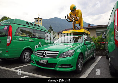 Ascona, Ticino, Switzerland, June 14, 2017: wet Vaudoise main sponsor vehicles parked in Ascona at the end of the first leg of the 2017 Tour de Suisse