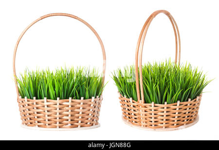 Two Empty Baskets On Lawn Grass In Wicker Basket Isolated White Background