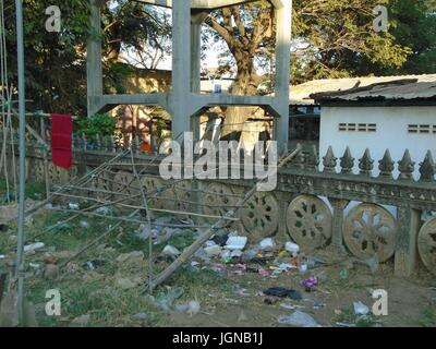 Concrete Fence Decorative Traditional Poipet Cambodia Decrepit Impoverished Town on the Thailand Border Line - Stock Photo