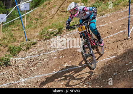 Lenzerheide, Switzerland. 8 July 2017. Tracey Hannah from POLYGON UR during the UCI Mountain Bike Downhill Worldcup - Stock Photo