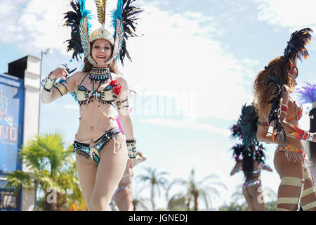 London, UK. 08th July, 2017. Dancers performing at the 2017 British Summer Time (BST) Festival in Hyde Park in London - Stock Photo