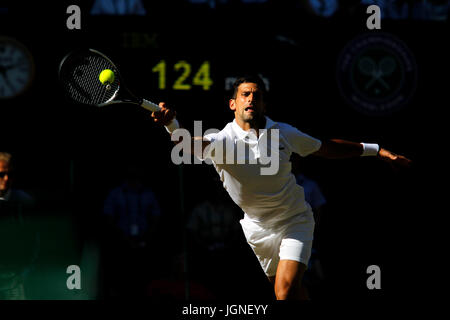 London, UK. 08th July, 2017. Wimbledon Tennis: London, 8 July, 2017 - Novak Djokovic of Serbia in action against - Stock Photo
