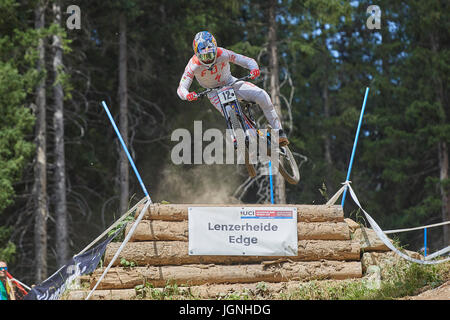 Lenzerheide, Switzerland. 7 July 2017. Loic Bruni from SPECIALIZED GRAVITY during the UCI Mountain Bike Downhill - Stock Photo