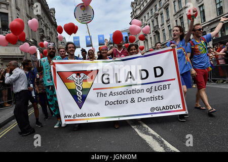 London, UK. 08th July, 2017. The GLADD joined the Pride In London on Saturday. Photo : Taka G Wu Credit: Taka Wu/Alamy - Stock Photo