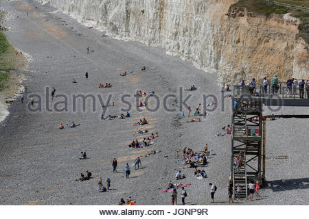 Seven Sisters Cliffs England UK. 8th Jul, 2017. Seven Sisters cliffs at South Downs in Sussex between the two towns - Stock Photo