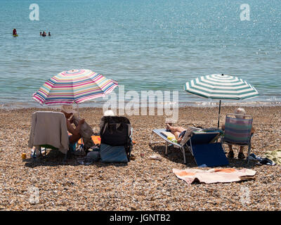 Weymouth, Dorset, UK. 9th July 2017. People enjoying the beach as the sunny warm weather continues on the south - Stock Photo