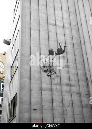 A graffito by the anonymous graffiti artist Banksy in London, United Kingdom, 26 June 2017. Banksy has been leaving - Stock Photo