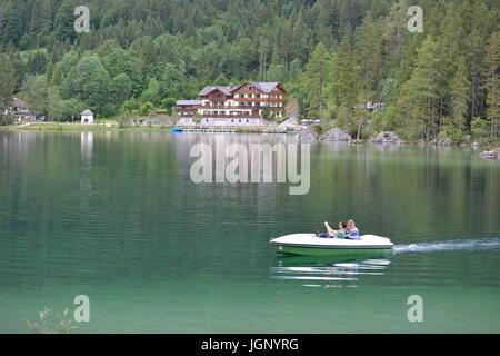 Ramsau, Germany - June 10, 2017 - Beautiful lake Hintersee in German alps - Stock Photo