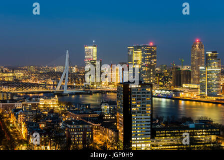 Rotterdam, Panorama taken from the Euromast in the Netherlands with Erasmus bridge, offices, skyscrapers, river - Stock Photo