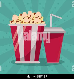 colorful background with popcorn pack and soda - Stock Photo
