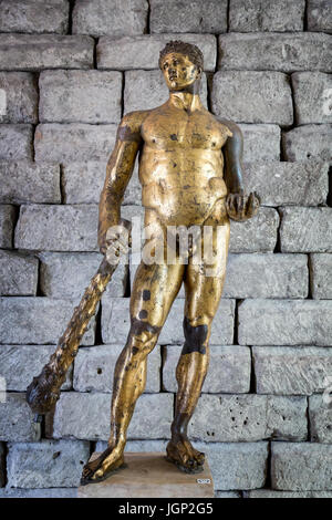 Bronze statue of Hercules in gilded bronze, The Capitoline Museums, Rome, Italy - Stock Photo