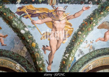 Mercury, Loggia of Cupid at Psyche, fresco by Giulio Romano, Villa Farnesina, Rome, Italy - Stock Photo