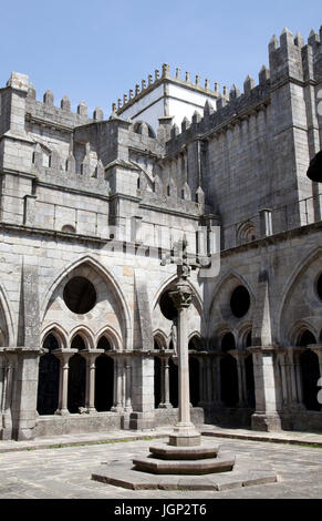 Courtyard and Gothic Cloisters at Sé Cathderal in Porto - Portugal - Stock Photo