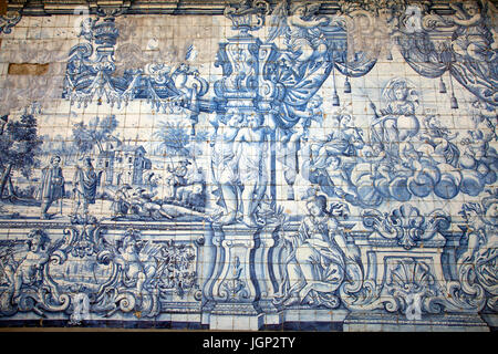 Blue Traditional Tiles on Terrace at Gothic Cloisters at Sé Cathderal in Porto - Portugal - Stock Photo