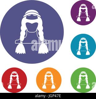 American indian icons set - Stock Photo