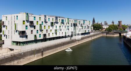 Hotel Art'otel and Malakoff tower on the Rhine, Cologne, North Rhine-Westphalia, Germany - Stock Photo